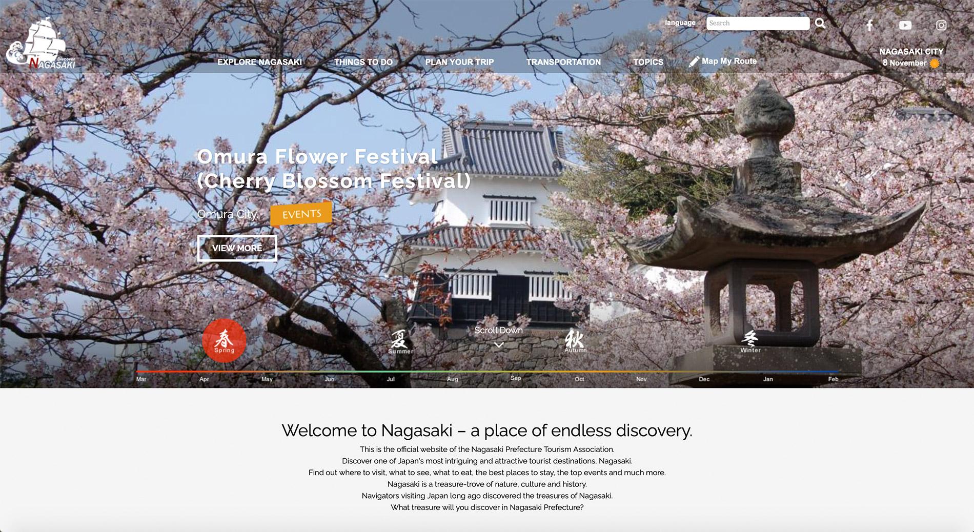 Die englische Webseite des Tourismusverbandes der Präfektur Nagasaki.