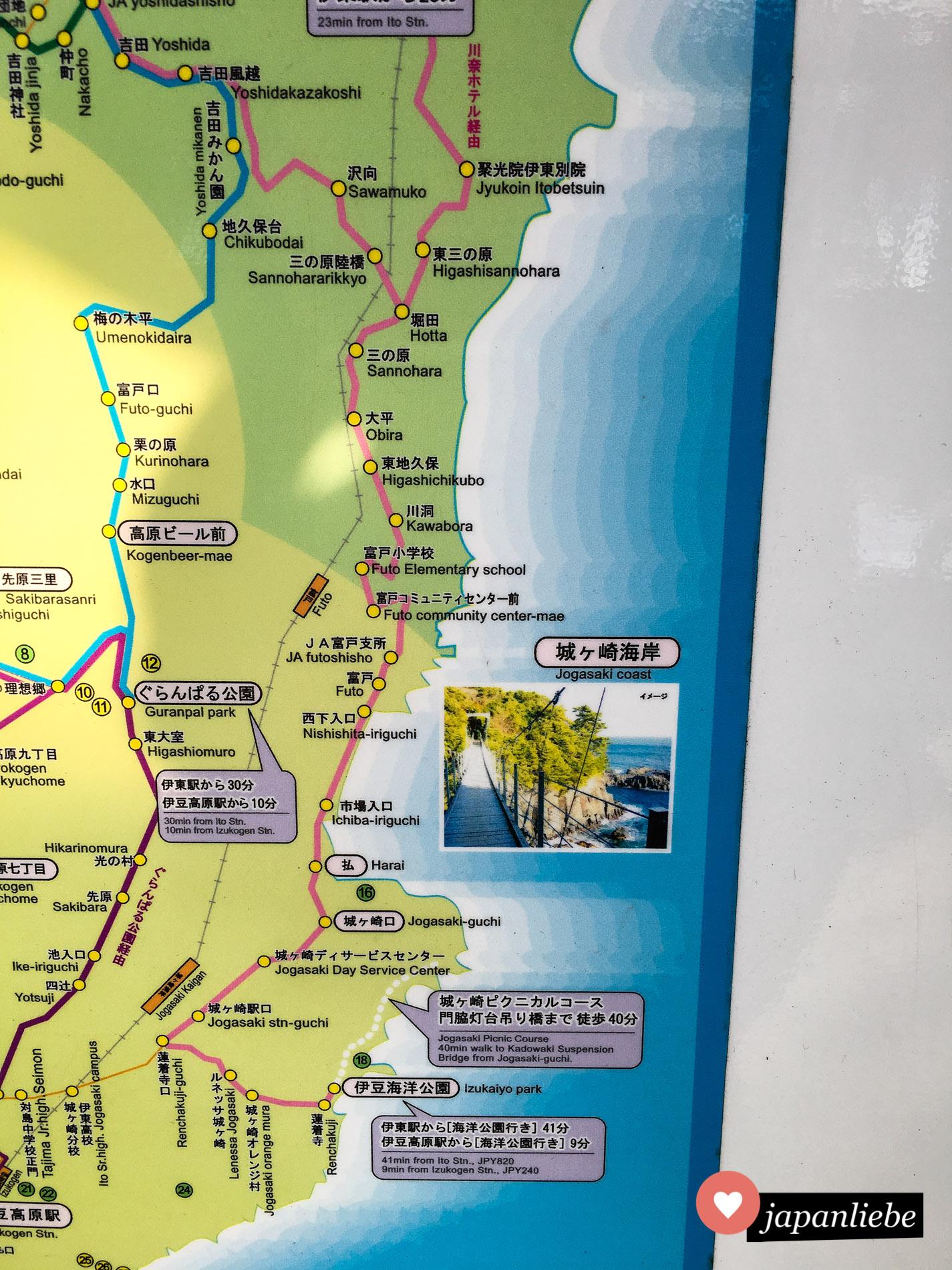 Die Wanderung entlang der Küste startet man am Besten am Bahnhof Jogasaki Kaigan.