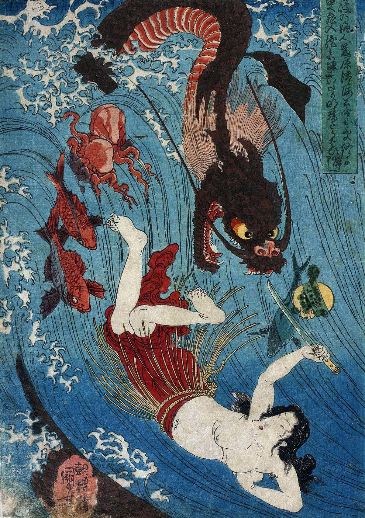Prinzessin Tamatori holt das Juwel von Amaterasu vom Drachengott zurück. (Foto: Utagawa Kuniyoshi auf Wikimedia Commons https://commons.wikimedia.org/wiki/File:Utagawa_Kuniyoshi_Tamatori_escaping_from_the_Dragon_King.jpg CC0 1.0)
