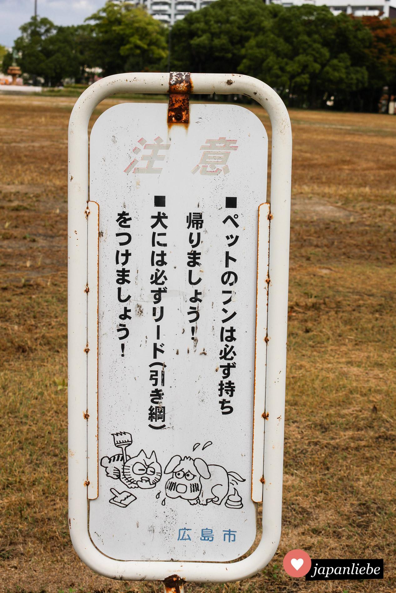 Häufchen mitnehmen, sonst gibt's in Hiroshima von der Katze eines auf den Latz.