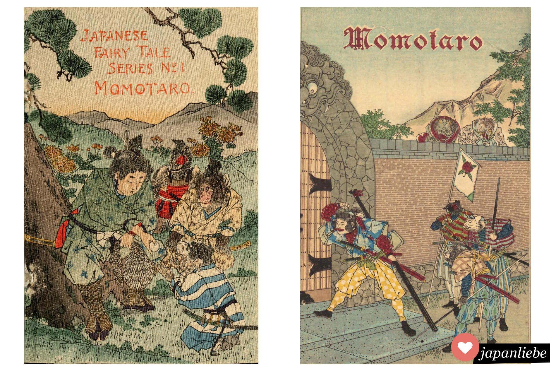 Diese zwei historischen Buchcover aus den 1890er-Jahren stellen Momotarō sehr unterschiedlich dar: einmals als den freundlichen Jungen, der einen Kloß an einen Hund verfüttert, einmal als Krieger am Tor der Ogerfestung. (Fotos: Wikimedia Public Domain)