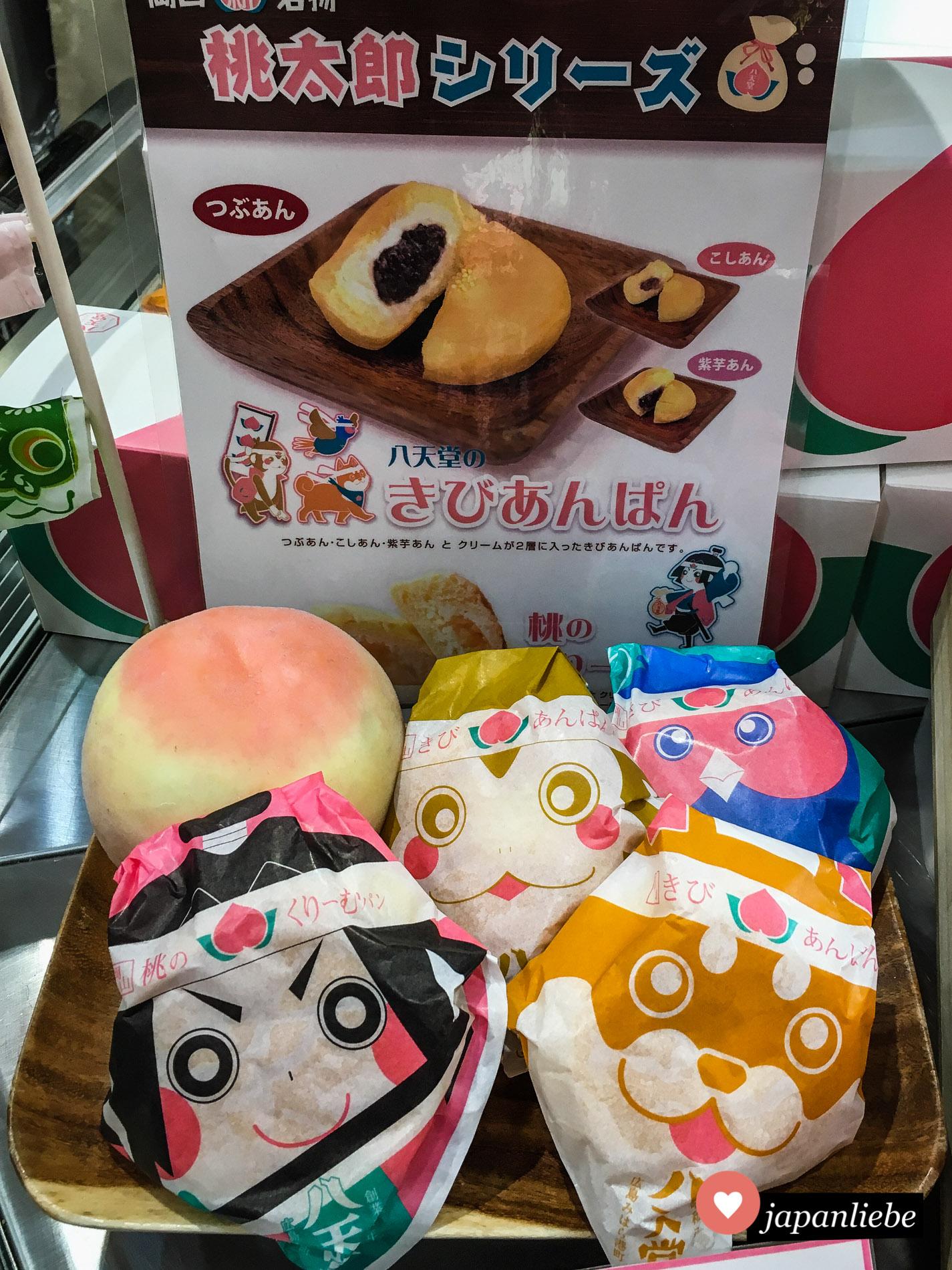 Nicht nur kibidango haben in Okayama ein Momotarō-Design. Auch kibianpan-Brötchen gefüllt mit roter Bohnenpaste kommen in entsprechender Verpackung.