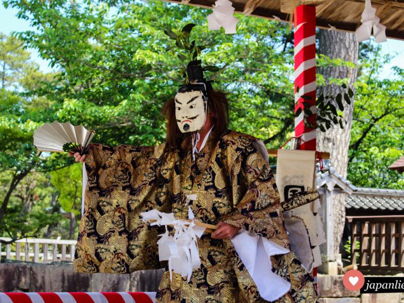 Am Izumo-taisha-Schrein findet eine kagura-Theater-Aufführung statt.