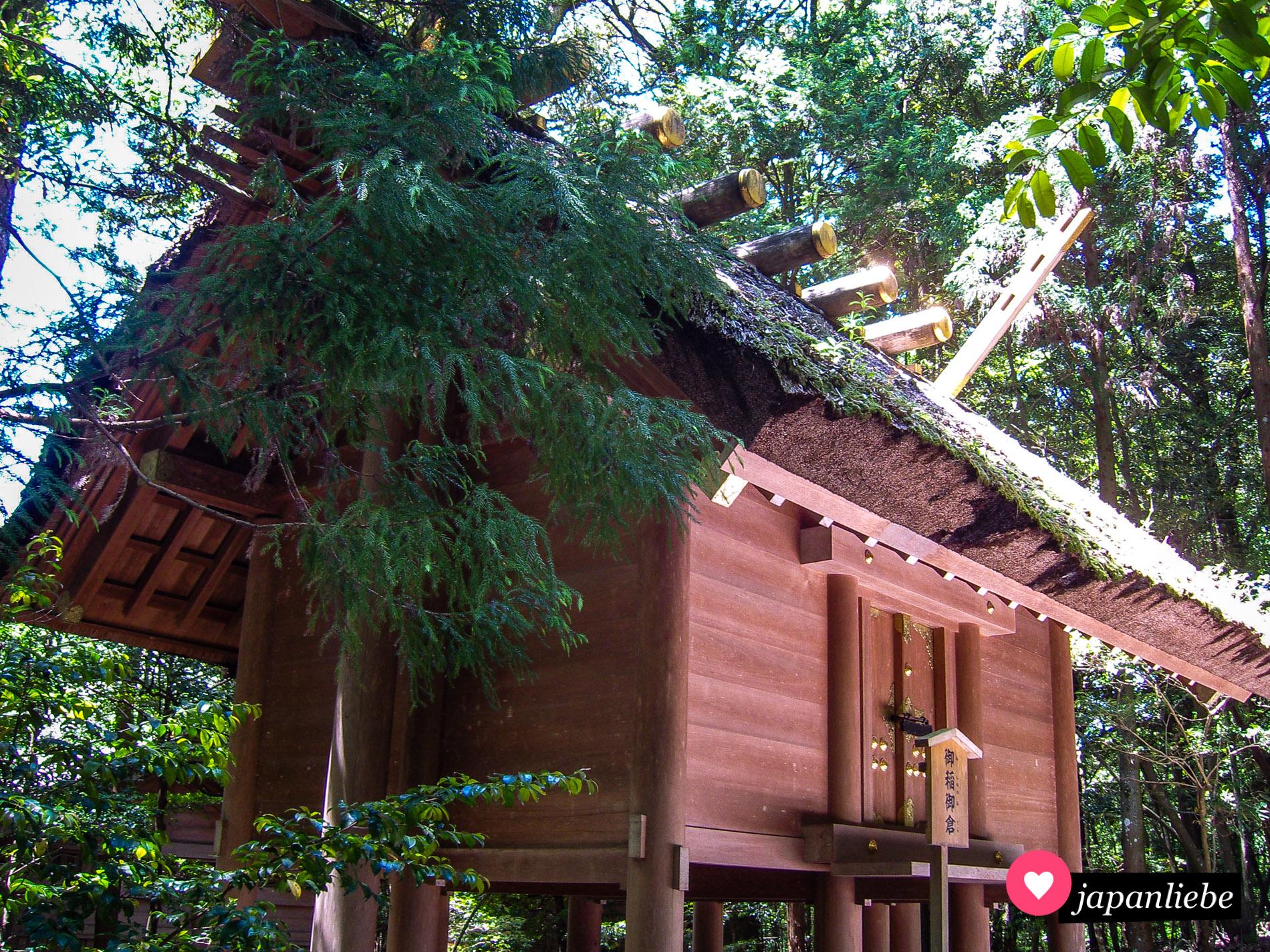 Ein Gebäude auf dem Areal des Ise-Großschreins im dort typischen yuiitsu shinmei-zukuri-Baustil, der an Lagerhäuser aus der Yayoi-Zeit erinnert.