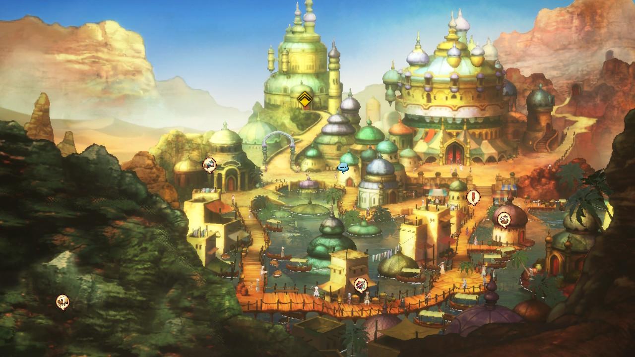 Ausgerechnet die Wüstenstadt Savalon wird durch die Mächte des Wasser-Kristalls gequält. (Foto. Nintendo)