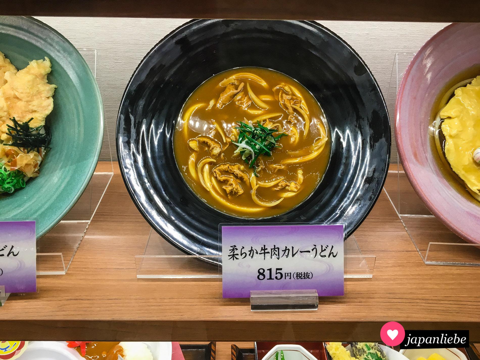 Curry Udon als naturgetreue Replik im Schaukasten eines Restaurants in Okayama.