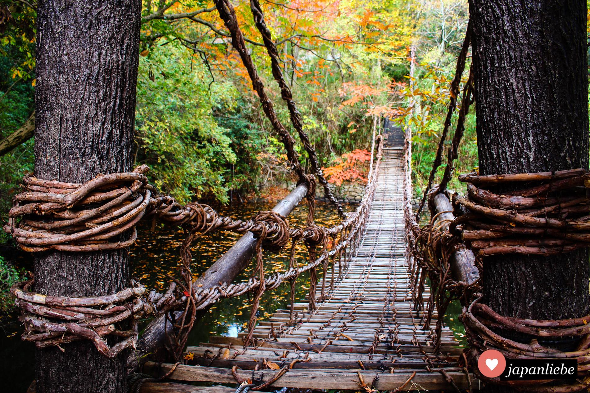 """Eine geflochtene Hängebrücke im """"Shikoku Mura""""-Heimatmuseum in Takamatsu."""