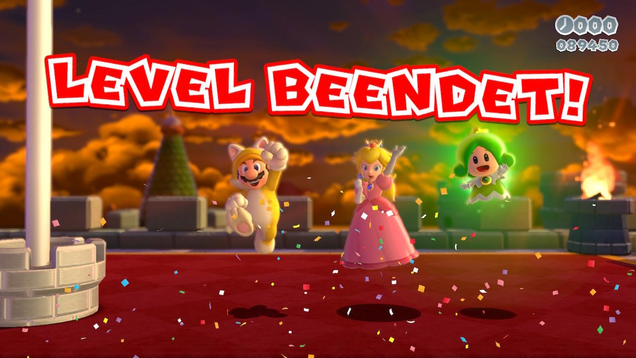Mario und Peach haben gemeinsam ein Level beendet. Auch mit zwei bis vier Spielern macht das Game Spaß, wenn es auch etwas chaotisch wird.